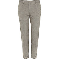 Light grey neppy skinny ankle grazer trousers
