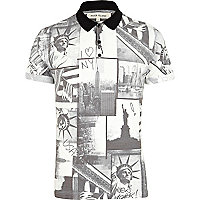 Black New York print polo shirt