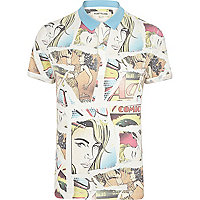 Yellow comic print polo shirt