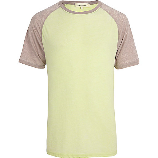 Yellow burnout colour block raglan t-shirt
