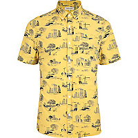 Yellow urban print short sleeve shirt