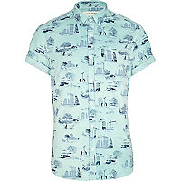 Mint green urban print short sleeve shirt