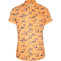 Orange urban print short sleeve shirt