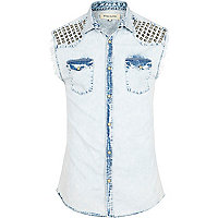 Light wash studded sleeveless denim shirt