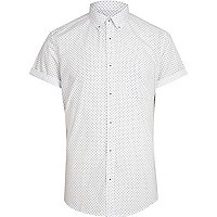 White ditsy diamond print short sleeve shirt
