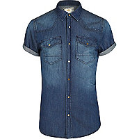 Mid wash short sleeve denim shirt
