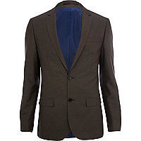 Light brown slim fit suit jacket