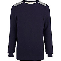 Navy quilted back jumper