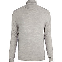 Light grey roll neck jumper