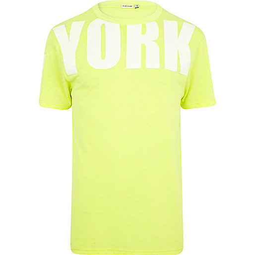 Yellow New York placement print t-shirt