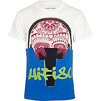 White hifi 80 skull print two-tone t-shirt