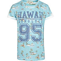 Green Hawaiian print short sleeve t-shirt