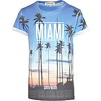 Blue Miami sunset print t-shirt