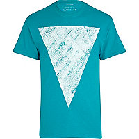 Green abstract triangle print t-shirt