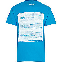 Turquoise abstract square print t-shirt