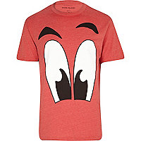 Red cartoon eyes print t-shirt
