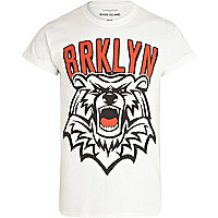 White Brooklyn bear print t-shirt
