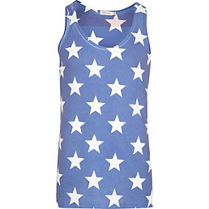 Ecru stars and stripes two-tone print vest