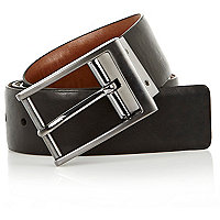 Brown and black reversible belt