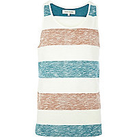 Ecru colour block stripe vest