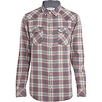 Navy acid wash western check shirt