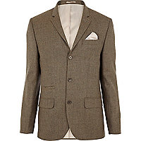 Light brown wool skinny suit jacket