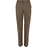 Light brown wool skinny suit trousers