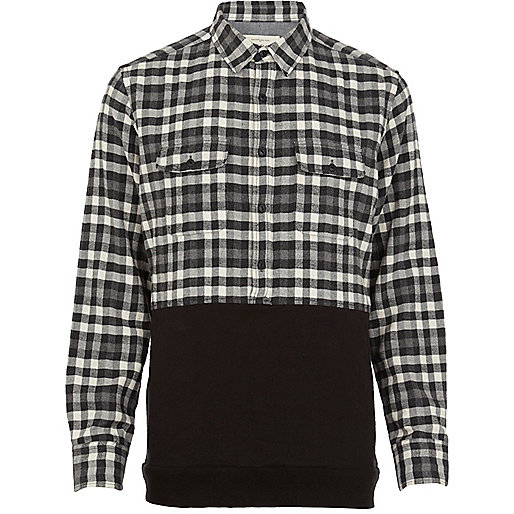 Black check 2 in 1 shirt sweatshirt