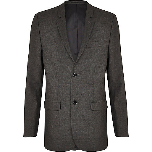 Charcoal grey skinny suit jacket