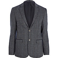 Blue large check blazer