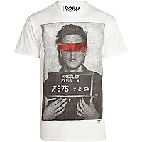 White Born Idol mug shot print t-shirt