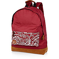 Dark red paisley print pocket MiPac rucksack