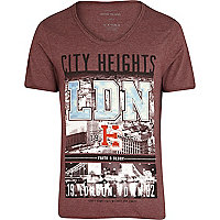 Red London city heights print t-shirt