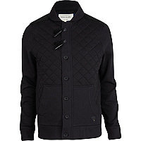 Black quilted duffle sweat jacket