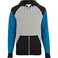 Black colour block raglan sleeve hoodie