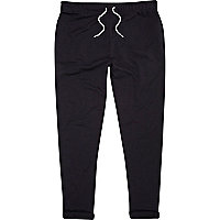 Navy turn up slim joggers
