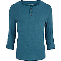 Teal marl roll sleeve grandad t-shirt
