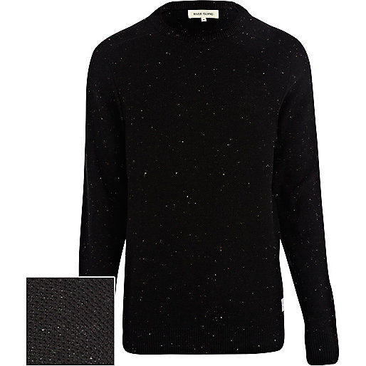Black neppy raglan sleeve jumper