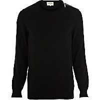 Black zip shoulder crew neck jumper