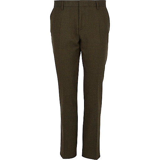 Khaki green slim suit trousers