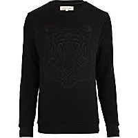 Black tiger embroidered sweatshirt