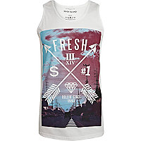White fresh arrow print vest