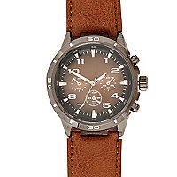 Brown small face watch