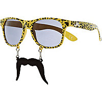 Yellow leopard print moustache glasses