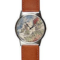 Brown globe print watch