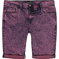 Pink acid wash denim shorts