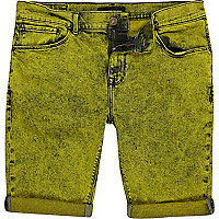 Yellow acid wash denim shorts
