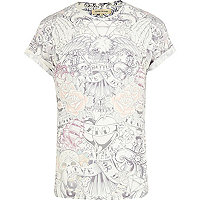 White tattoo print t-shirt