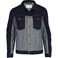 Dark wash two-tone denim jacket