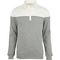 Grey 2 in 1 sliced shirt sweatshirt